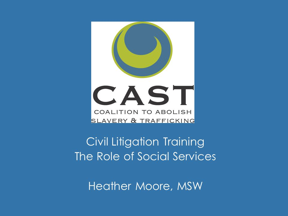 Civil Litigation Training The Role of Social Services Heather Moore, MSW