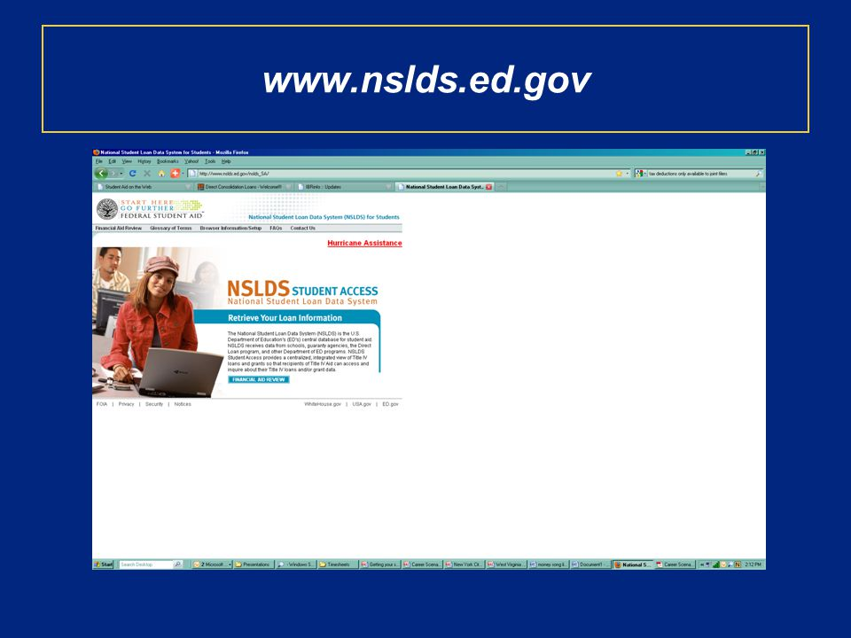 www.nslds.ed.gov