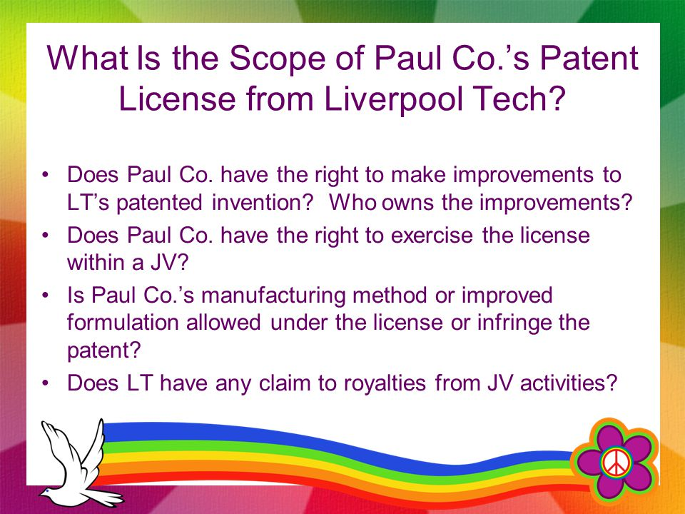 What Is the Scope of Paul Co.'s Patent License from Liverpool Tech.