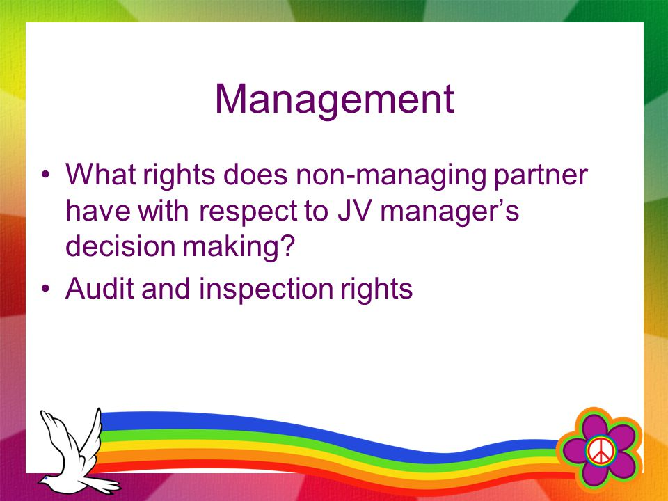 Management What rights does non-managing partner have with respect to JV manager's decision making? Audit and inspection rights