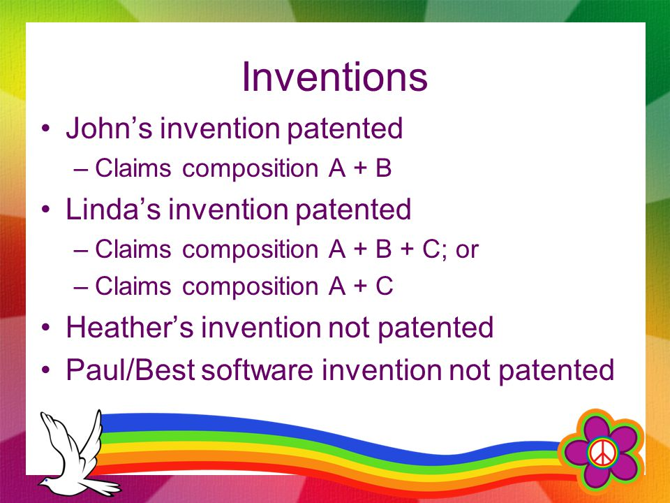 Inventions John's invention patented –Claims composition A + B Linda's invention patented –Claims composition A + B + C; or –Claims composition A + C