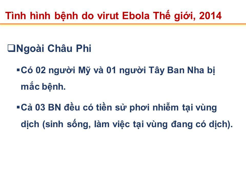 Quốc giaCa mắcCa tử vongCFR Guinea60740666.8 % Liberia108262457.6% Sierra Leone91039243.1% Nigeria16531.25% Tổng cộng2615142754.56% Số liệu cập nhật đến ngày 22/8/2014 theo WHO Tình hình bệnh do virut Ebola trên Thế giới, 2014 Trong 6 tháng dịch bệnh vừa qua, hơn 225 nhân viên y tế đã bị nhiễm bệnh trong đó gần 130 người đã tử vong.