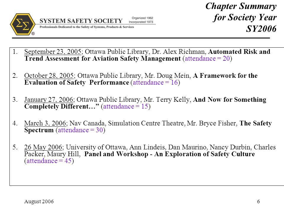 August 20066 Chapter Summary for Society Year SY2006 1.September 23, 2005; Ottawa Public Library, Dr.