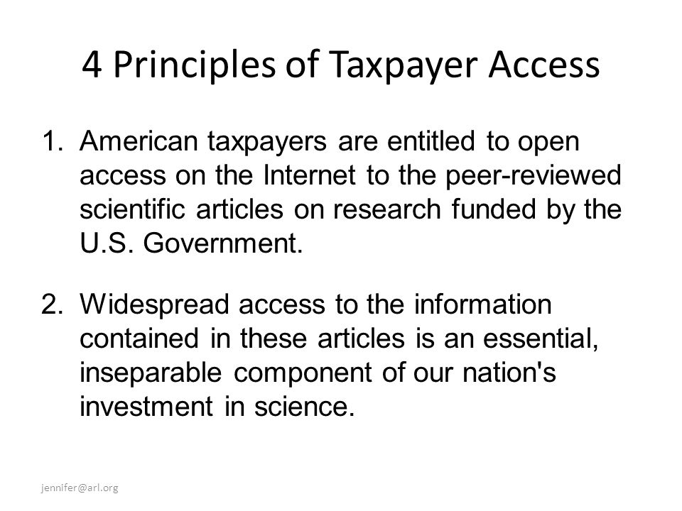 4 Principles of Taxpayer Access 1.