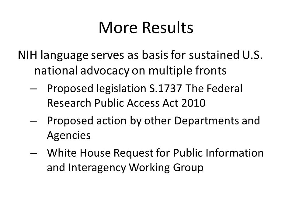 More Results NIH language serves as basis for sustained U.S.