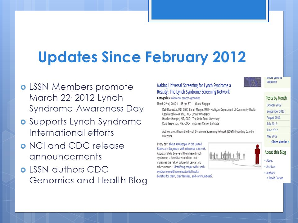 Updates Since February 2012  LSSN Members promote March 22, 2012 Lynch Syndrome Awareness Day  Supports Lynch Syndrome International efforts  NCI and CDC release announcements  LSSN authors CDC Genomics and Health Blog