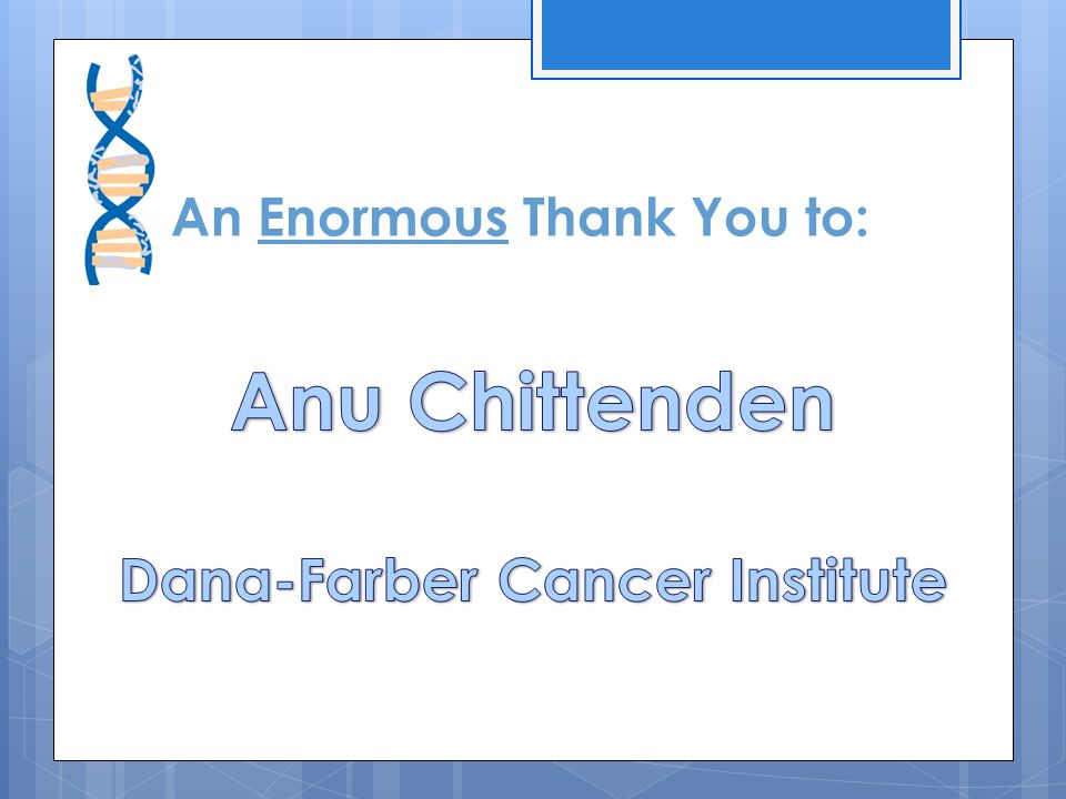 An Enormous Thank You to: