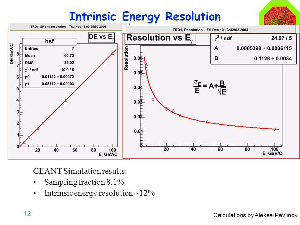 12 Intrinsic Energy Resolution GEANT Simulation results: Sampling fraction 8.1% Intrinsic energy resolution ~12% Calculations by Aleksei Pavlinov