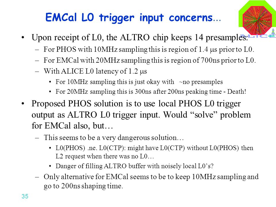 35 EMCal L0 trigger input concerns … Upon receipt of L0, the ALTRO chip keeps 14 presamples: –For PHOS with 10MHz sampling this is region of 1.4  s prior to L0.