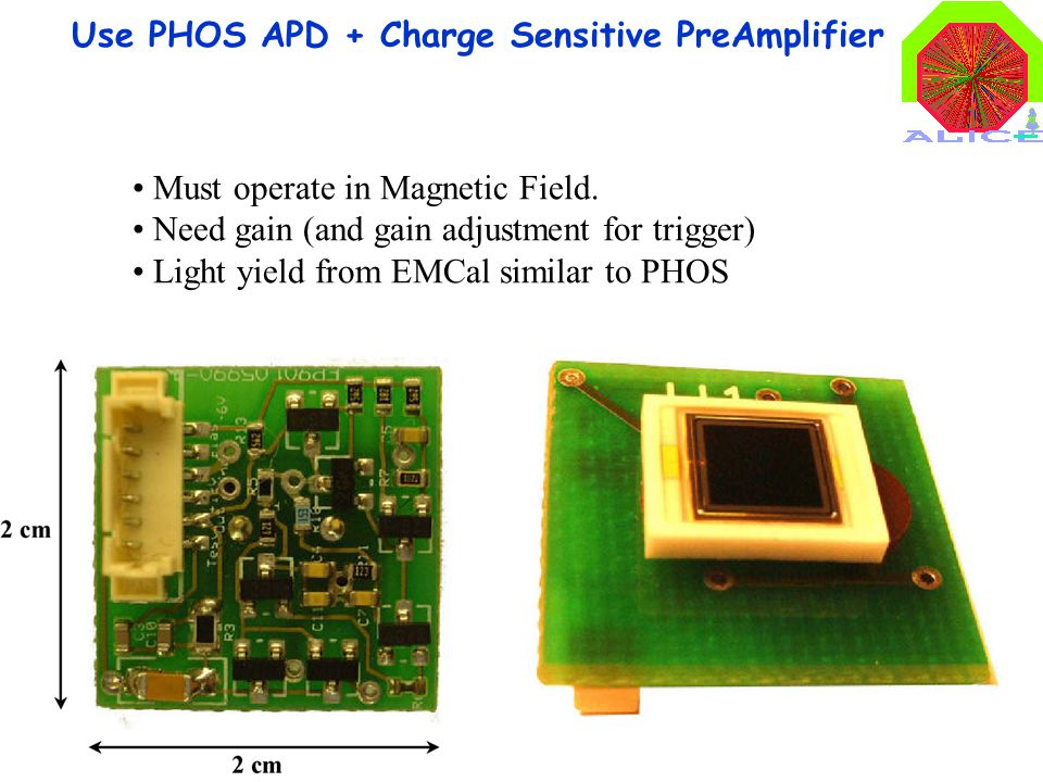 9 Use PHOS APD + Charge Sensitive PreAmplifier Must operate in Magnetic Field. Need gain (and gain adjustment for trigger) Light yield from EMCal simi