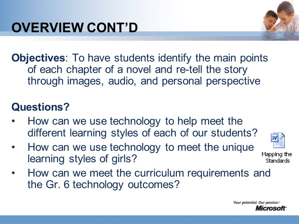 OVERVIEW CONT'D Objectives: To have students identify the main points of each chapter of a novel and re-tell the story through images, audio, and pers