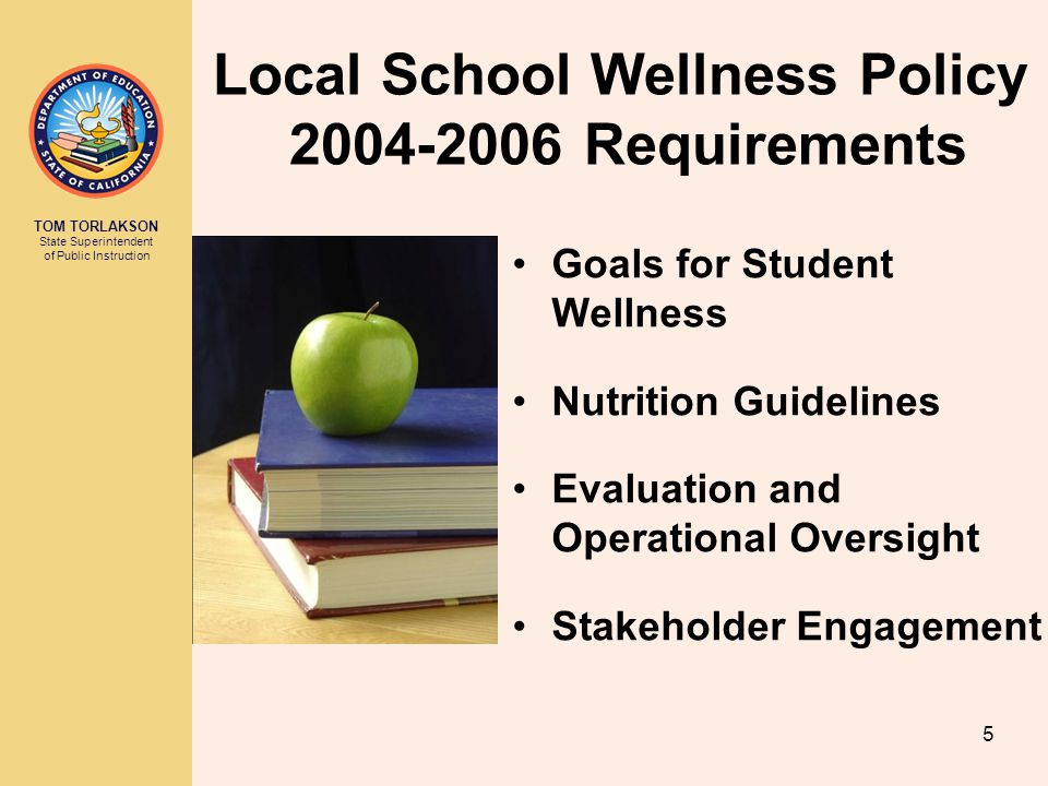 TOM TORLAKSON State Superintendent of Public Instruction Local School Wellness Policy 2004-2006 Requirements Goals for Student Wellness Nutrition Guidelines Evaluation and Operational Oversight Stakeholder Engagement 5