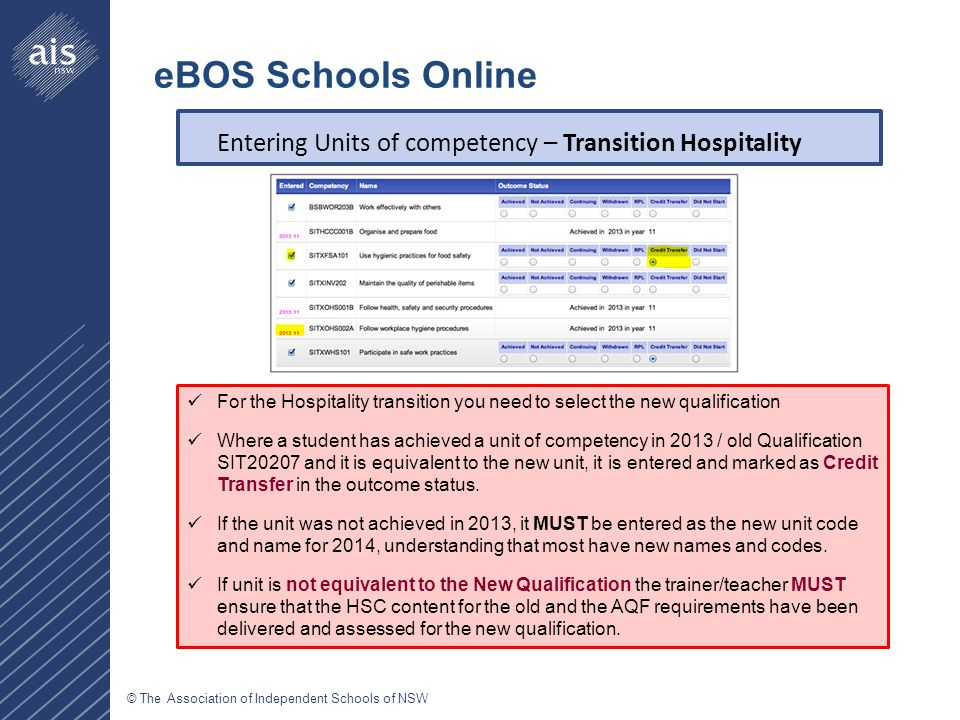 © The Association of Independent Schools of NSW Entering Units of competency – Transition Hospitality eBOS Schools Online For the Hospitality transition you need to select the new qualification Where a student has achieved a unit of competency in 2013 / old Qualification SIT20207 and it is equivalent to the new unit, it is entered and marked as Credit Transfer in the outcome status.
