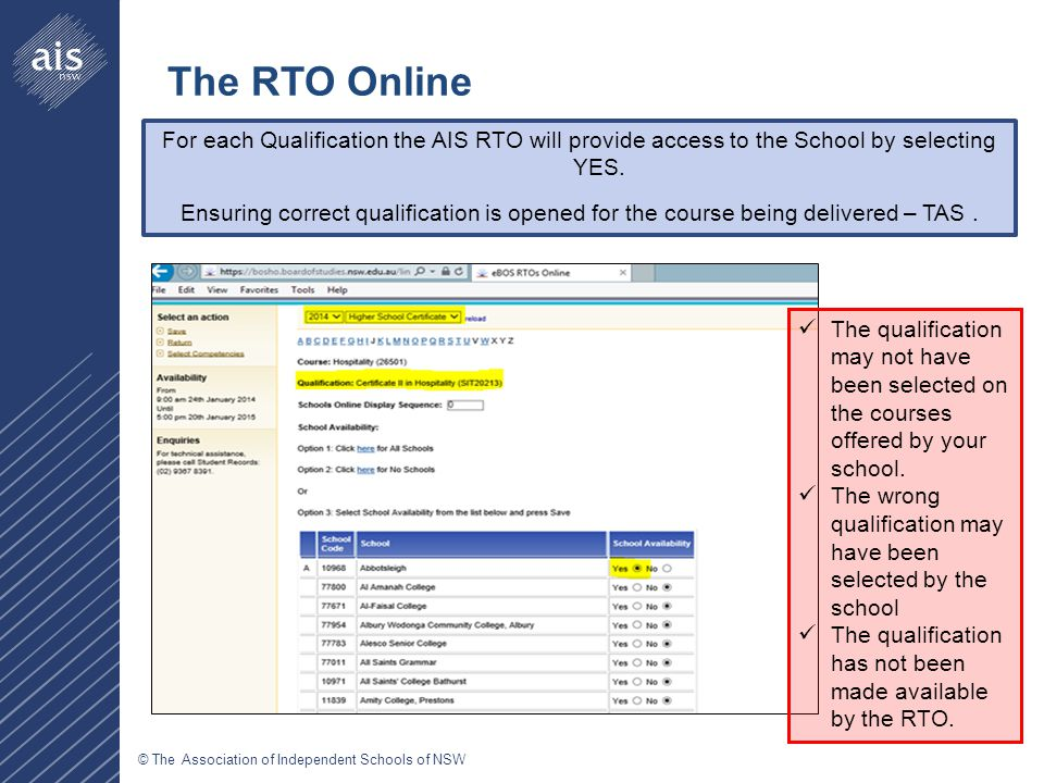 © The Association of Independent Schools of NSW For each Qualification the AIS RTO will provide access to the School by selecting YES.