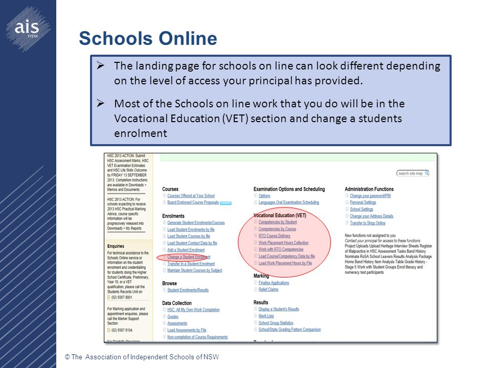 © The Association of Independent Schools of NSW  The landing page for schools on line can look different depending on the level of access your principal has provided.