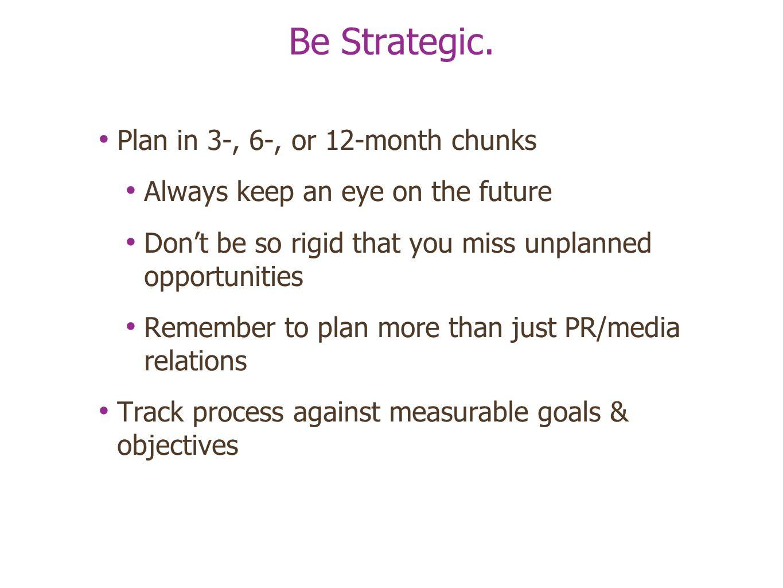 Be Strategic.