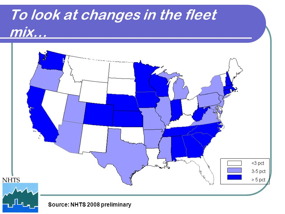 To look at changes in the fleet mix… Hybrid/Alternative Fuel Vehicles by State Source: NHTS 2008 preliminary