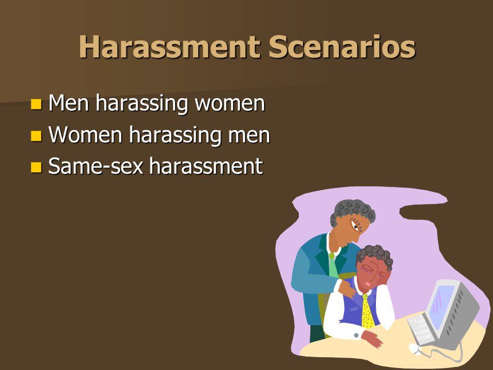 Harassment Scenarios Men harassing women Men harassing women Women harassing men Women harassing men Same-sex harassment Same-sex harassment
