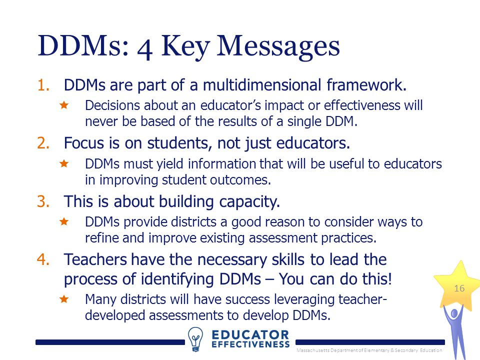 Massachusetts Department of Elementary & Secondary Education DDMs: 4 Key Messages 1.DDMs are part of a multidimensional framework.