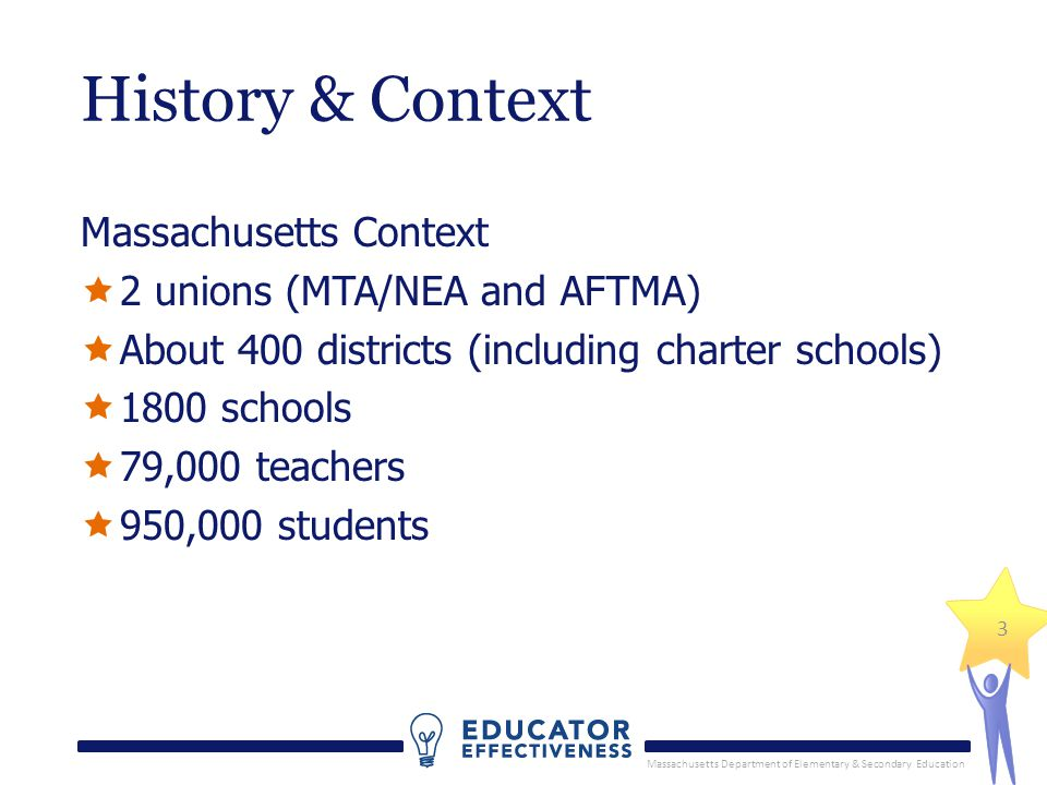 Massachusetts Department of Elementary & Secondary Education History & Context Massachusetts Context  2 unions (MTA/NEA and AFTMA)  About 400 districts (including charter schools)  1800 schools  79,000 teachers  950,000 students 3
