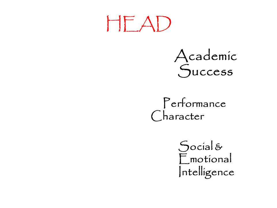 HEAD Academic Success Performance Character Social & Emotional Intelligence