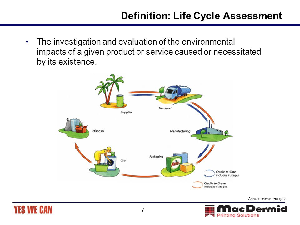 7 Definition: Life Cycle Assessment The investigation and evaluation of the environmental impacts of a given product or service caused or necessitated by its existence.