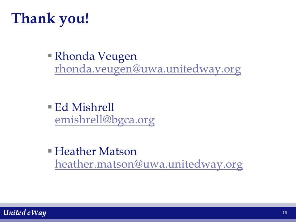 United eWay 13  Rhonda Veugen rhonda.veugen@uwa.unitedway.org rhonda.veugen@uwa.unitedway.org  Ed Mishrell emishrell@bgca.org  Heather Matson heather.matson@uwa.unitedway.org Thank you!