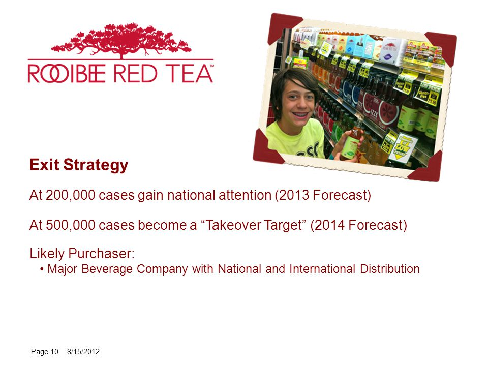 Page 10 8/15/2012 Exit Strategy At 200,000 cases gain national attention (2013 Forecast) At 500,000 cases become a Takeover Target (2014 Forecast) Likely Purchaser: Major Beverage Company with National and International Distribution