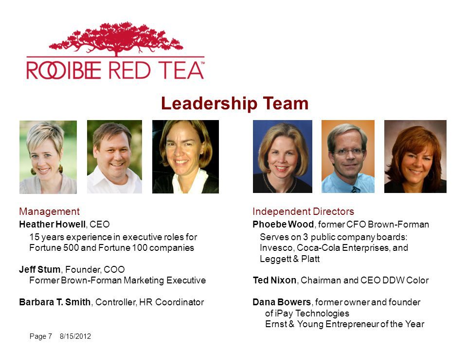 Leadership Team Page 7 8/15/2012 Management Heather Howell, CEO 15 years experience in executive roles for Fortune 500 and Fortune 100 companies Jeff Stum, Founder, COO Former Brown-Forman Marketing Executive Barbara T.