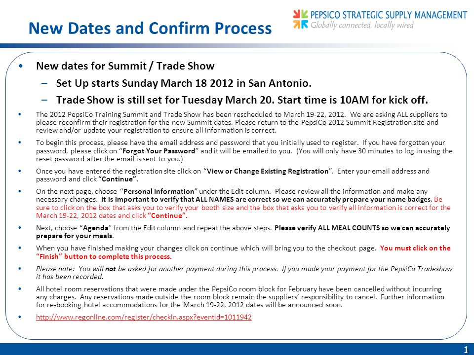 1 1 New dates for Summit / Trade Show –Set Up starts Sunday March 18 2012 in San Antonio.