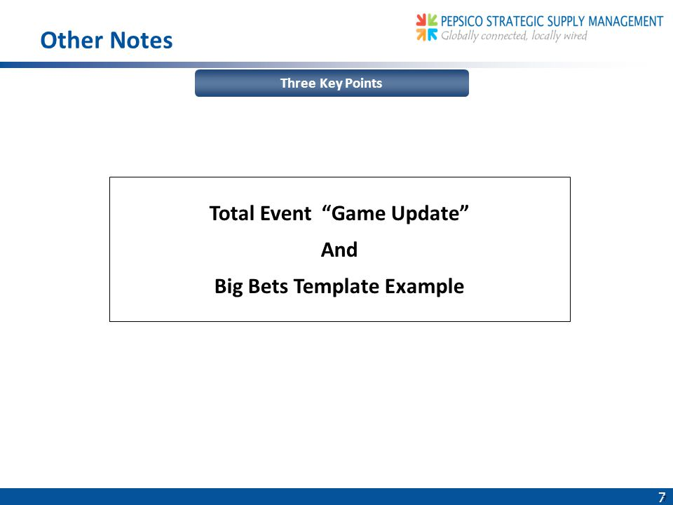 7 7 Three Key Points Other Notes Total Event Game Update And Big Bets Template Example