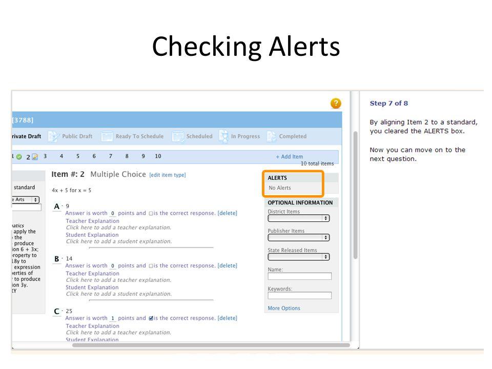 Checking Alerts