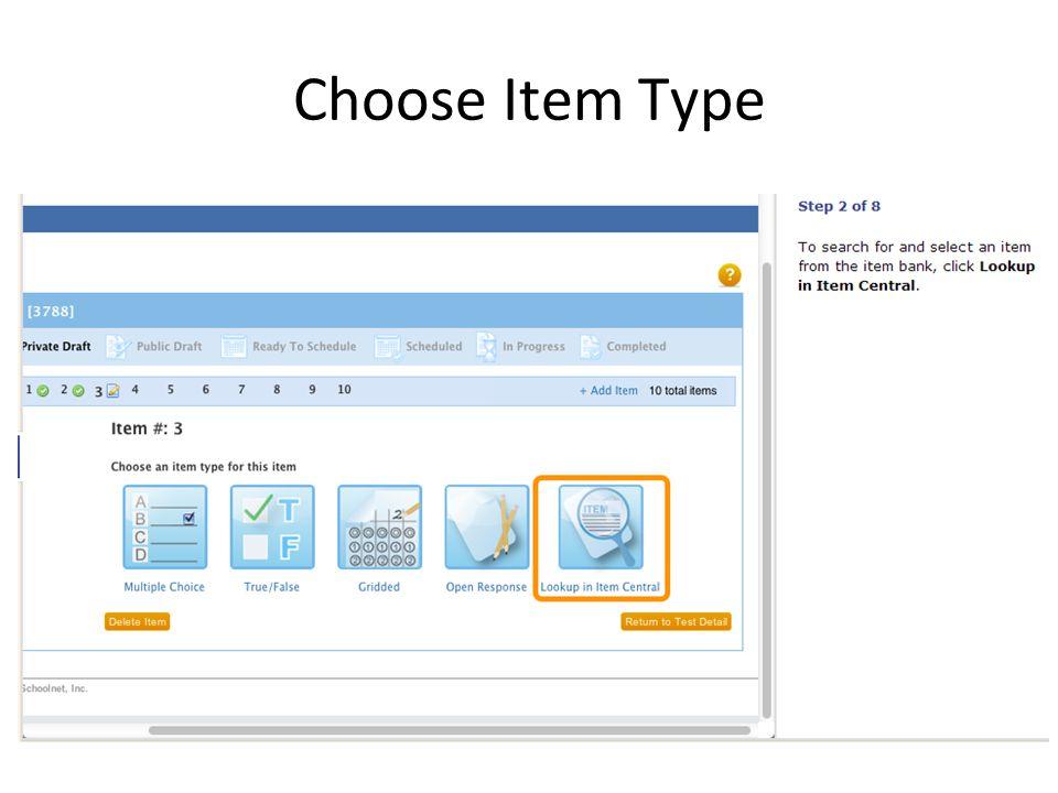 Choose Item Type