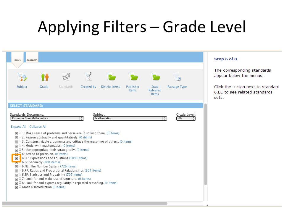 Applying Filters – Grade Level
