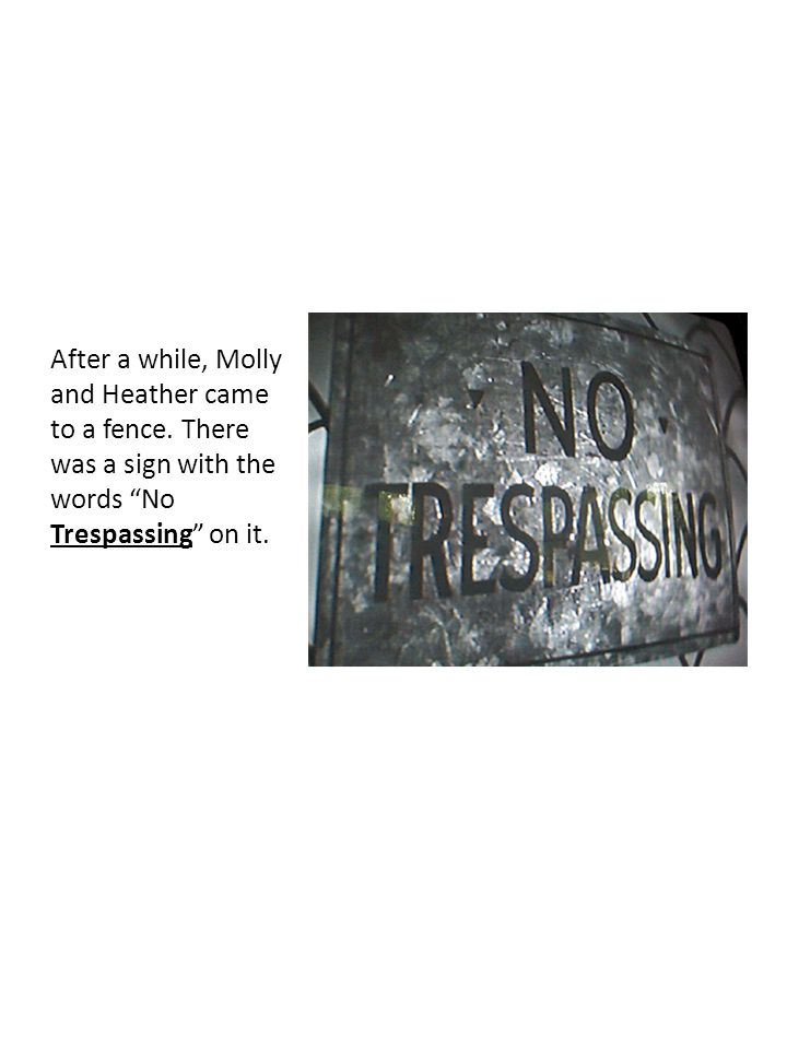 """After a while, Molly and Heather came to a fence. There was a sign with the words """"No Trespassing"""" on it."""