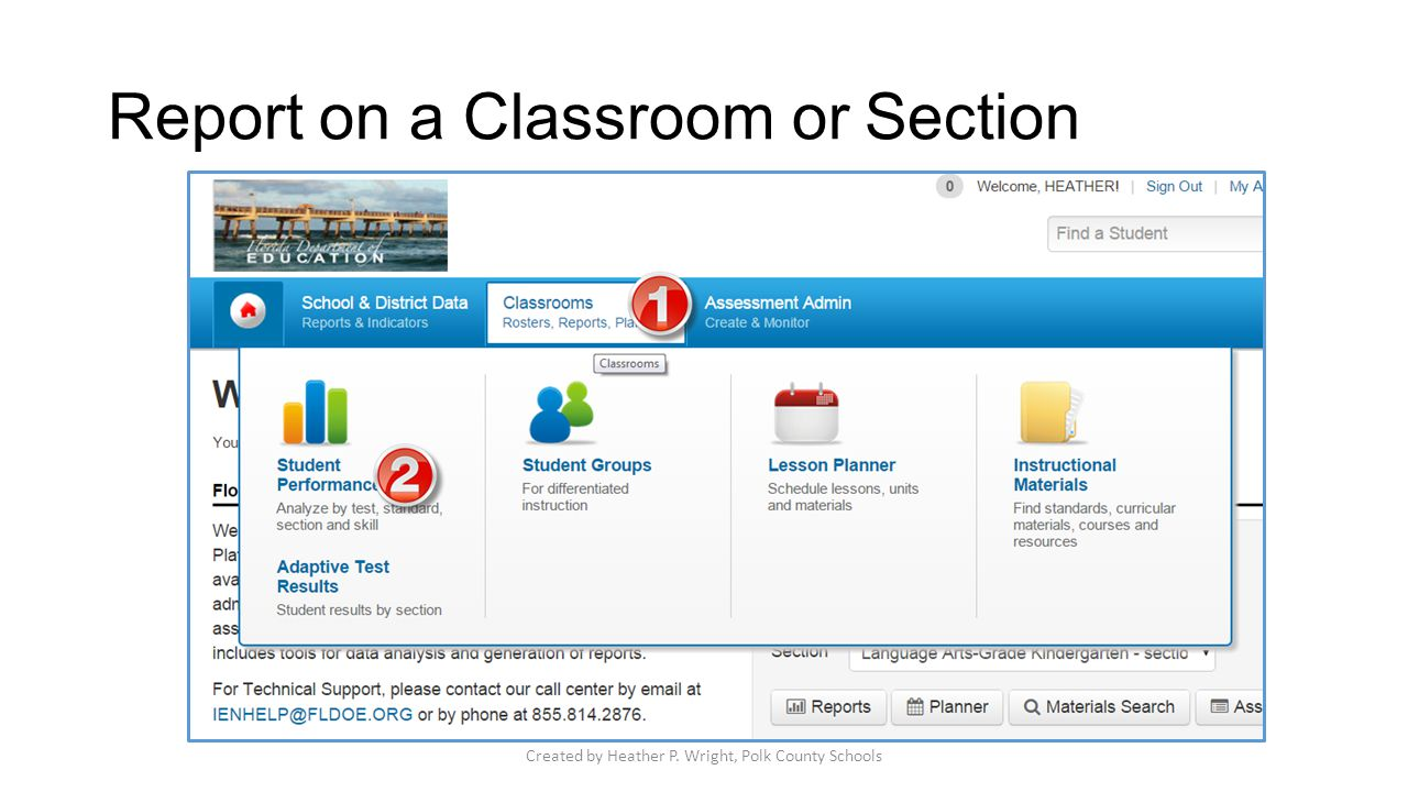 Report on a Classroom or Section Created by Heather P. Wright, Polk County Schools