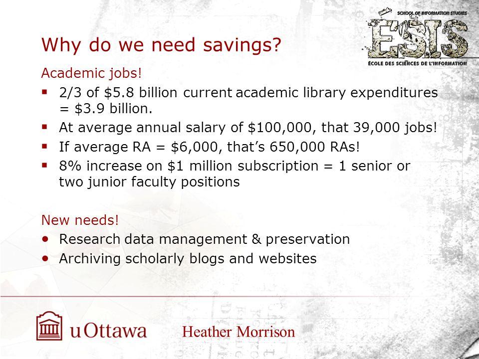 Why do we need savings. Academic jobs.