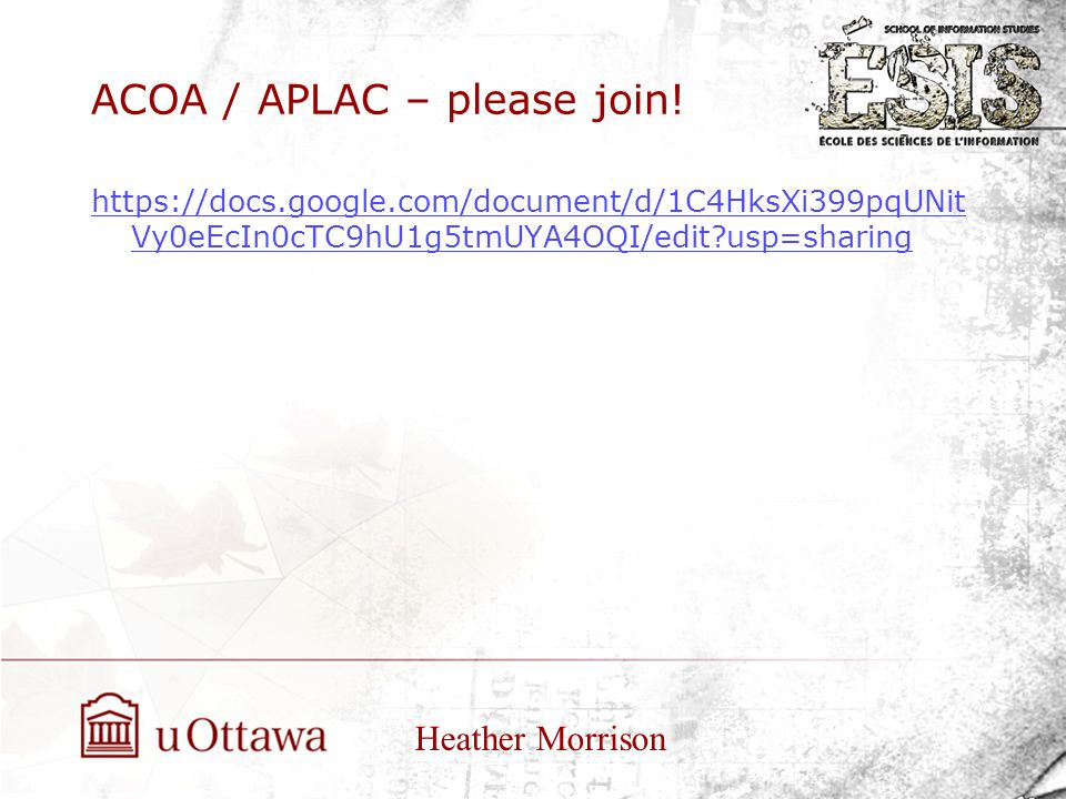 ACOA / APLAC – please join.