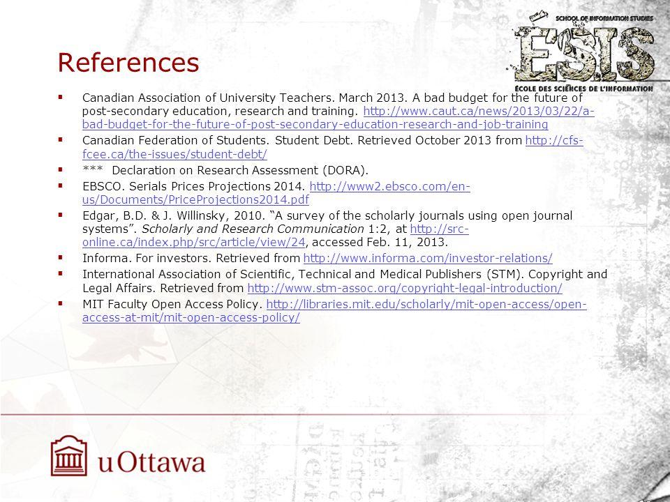References  Canadian Association of University Teachers.