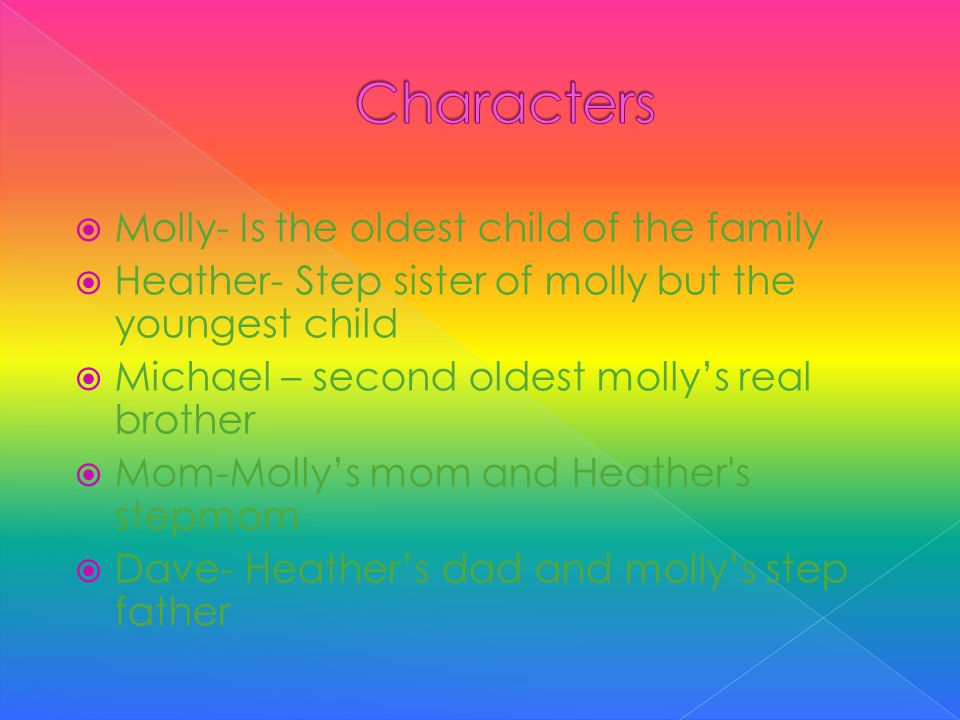  Molly- Is the oldest child of the family  Heather- Step sister of molly but the youngest child  Michael – second oldest molly's real brother  Mom-Molly's mom and Heather s stepmom  Dave- Heather's dad and molly's step father