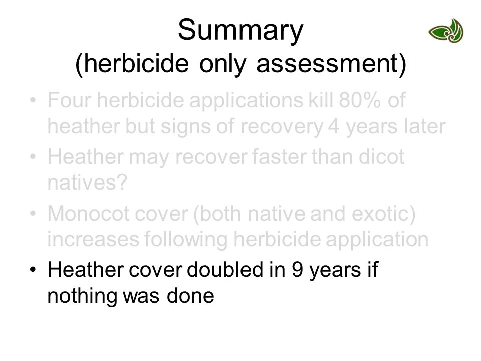 Summary (herbicide only assessment) Four herbicide applications kill 80% of heather but signs of recovery 4 years later Heather may recover faster than dicot natives.