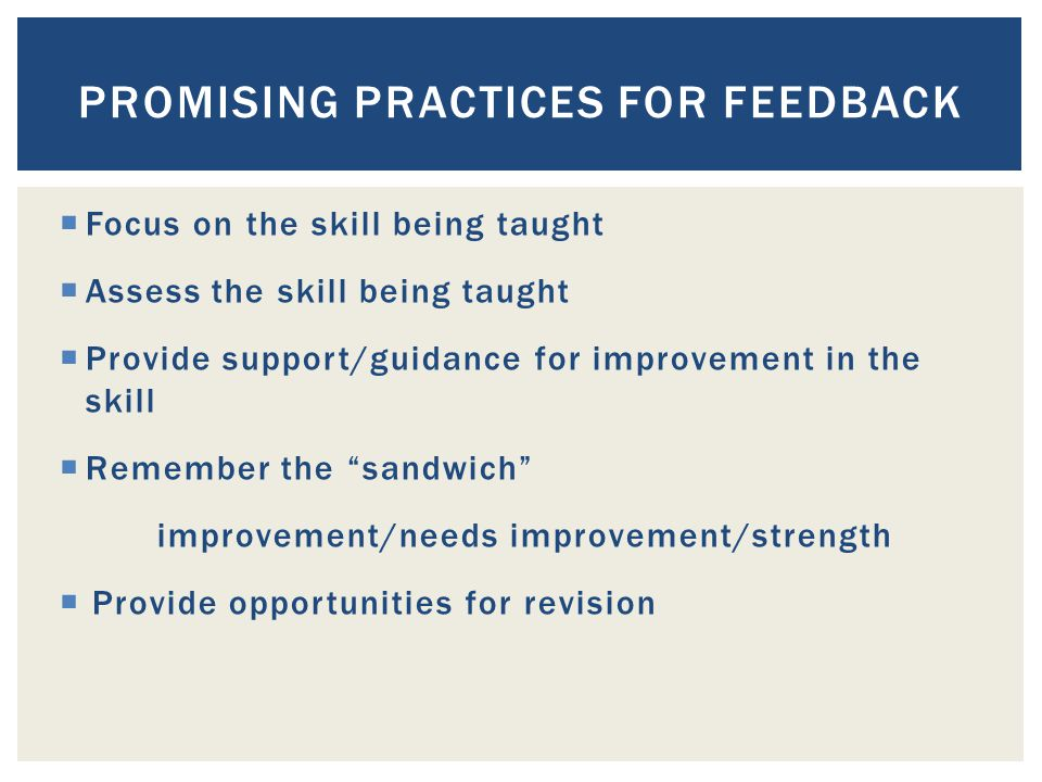  Focus on the skill being taught  Assess the skill being taught  Provide support/guidance for improvement in the skill  Remember the sandwich improvement/needs improvement/strength  Provide opportunities for revision PROMISING PRACTICES FOR FEEDBACK