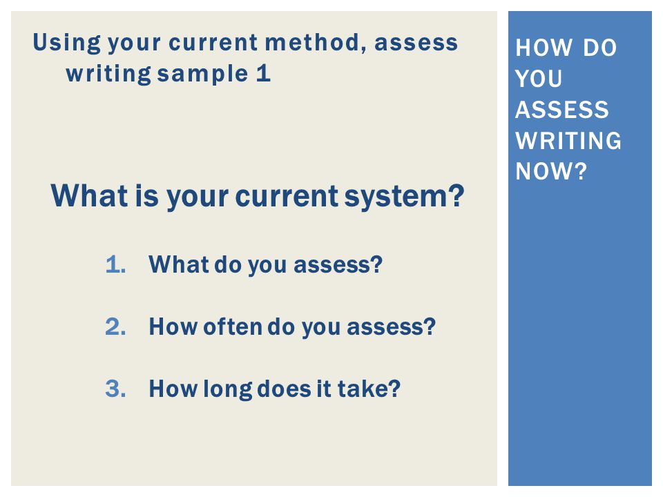 Using your current method, assess writing sample 1 HOW DO YOU ASSESS WRITING NOW.