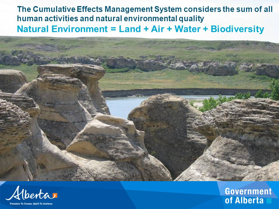The Cumulative Effects Management System considers the sum of all human activities and natural environmental quality Natural Environment = Land + Air