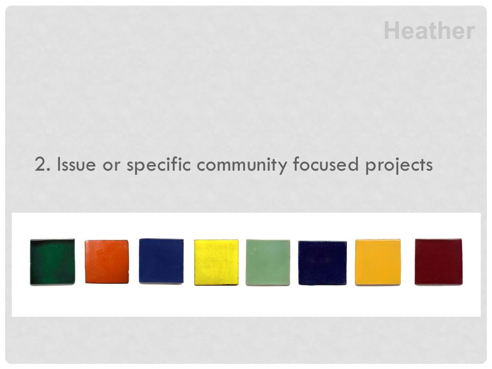 2. Issue or specific community focused projects Heather