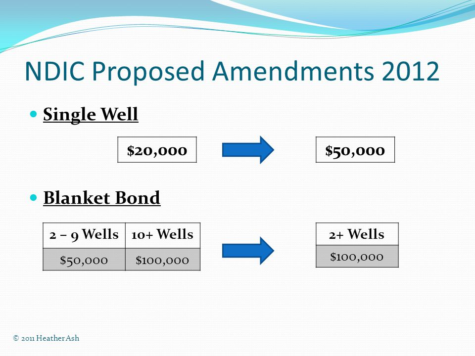 NDIC Proposed Amendments 2012 Single Well Blanket Bond 2 – 9 Wells10+ Wells $50,000$100, Wells $100,000 $20,000$50,000 © 2011 Heather Ash