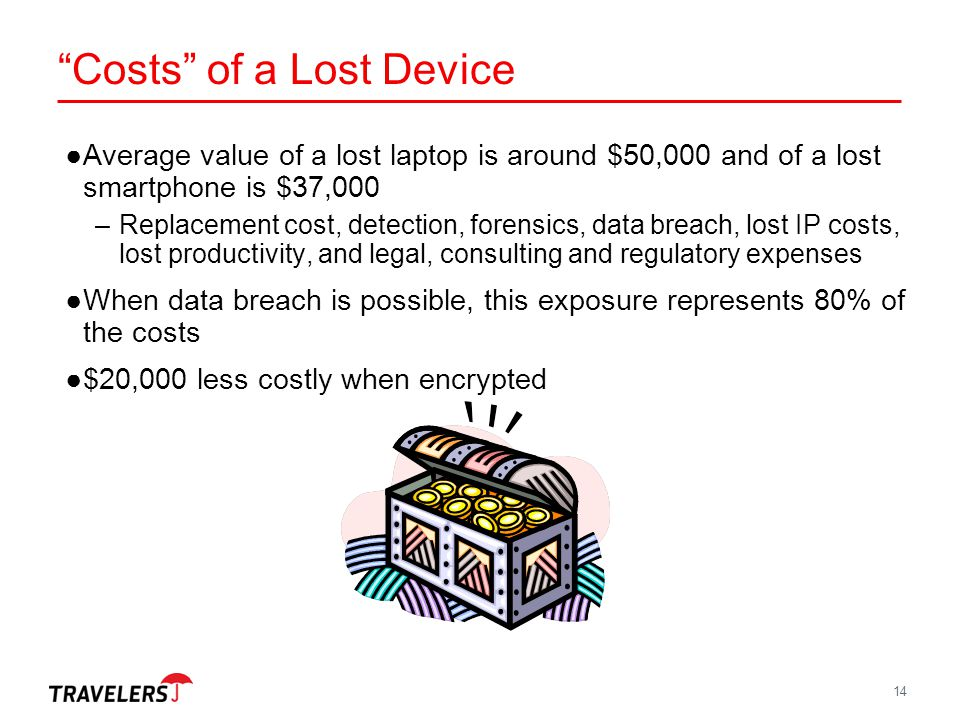 """14 """"Costs"""" of a Lost Device ●Average value of a lost laptop is around $50,000 and of a lost smartphone is $37,000 –Replacement cost, detection, forens"""
