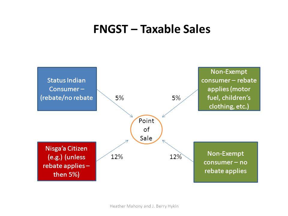 Point of Sale Status Indian Consumer – (rebate/no rebate Nisga'a Citizen (e.g.) (unless rebate applies – then 5%) Non-Exempt consumer – rebate applies (motor fuel, children's clothing, etc.) Non-Exempt consumer – no rebate applies FNGST – Taxable Sales 5% 12% 5% 12%