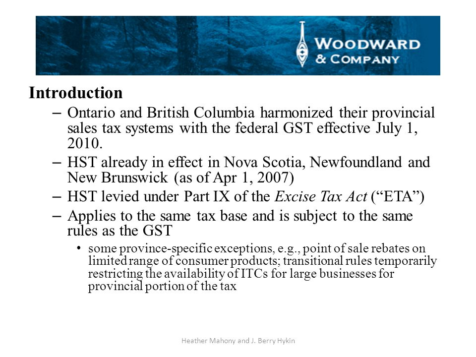 d) Liquor Sales on Reserve – Where FNT/FNGST applies to alcohol sales on reserve: Status customers pay: 5% Non-Status customers pay 5% + 7%BCVAT = 12% – Indian Act tax exemptions still apply Heather Mahony and J.