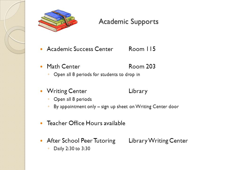 Academic Supports Academic Success CenterRoom 115 Math Center Room 203 ◦ Open all 8 periods for students to drop in Writing CenterLibrary ◦ Open all 8 periods ◦ By appointment only – sign up sheet on Writing Center door Teacher Office Hours available After School Peer TutoringLibrary Writing Center ◦ Daily 2:30 to 3:30